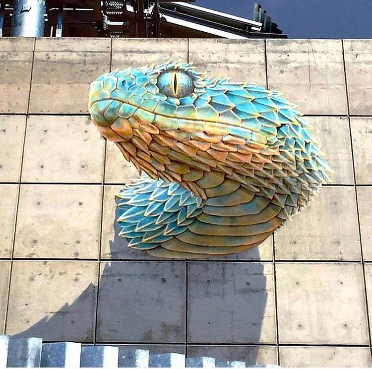 Snake, work of John Pugh in Mexico.