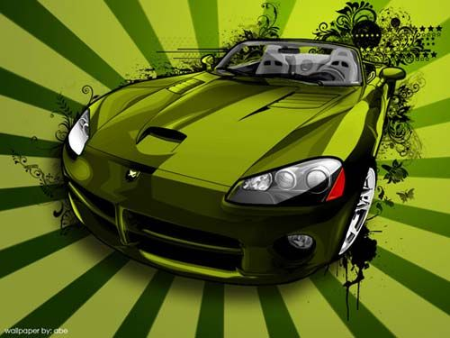 Captivating Wicked Green Art For A Dodge Viper!