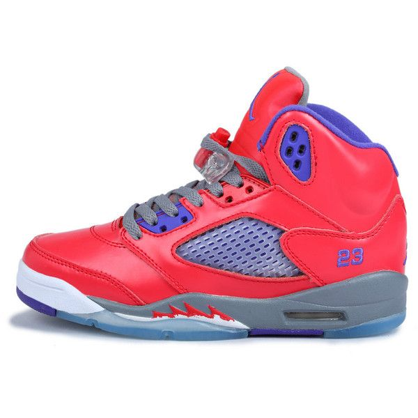 6cf63a47f47a Top AAA+ Women Air Jordan 5 Watermelon Red Purple WTAJ5-004 ❤ liked on Polyvore  featuring shoes