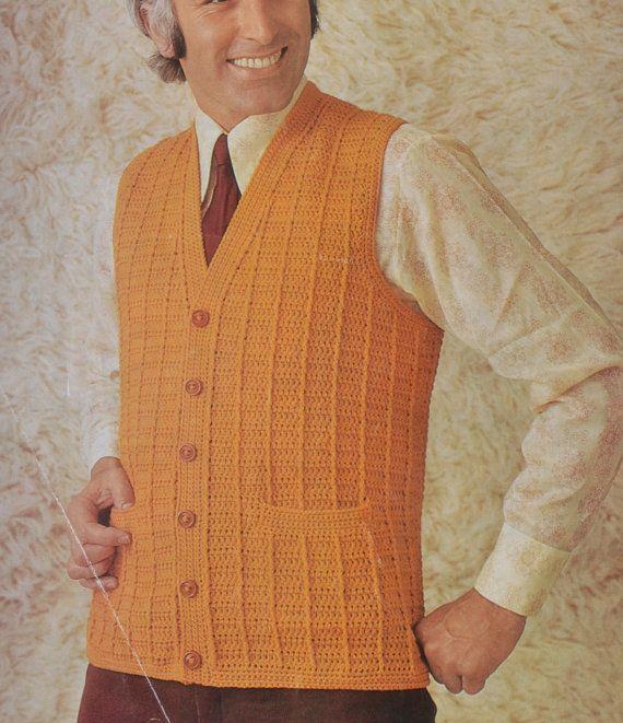 Pdf Crochet Men S Waistcoat Vest Vintage Crochet Pattern Etsy Crochet Men Crochet Waistcoat Vintage Crochet
