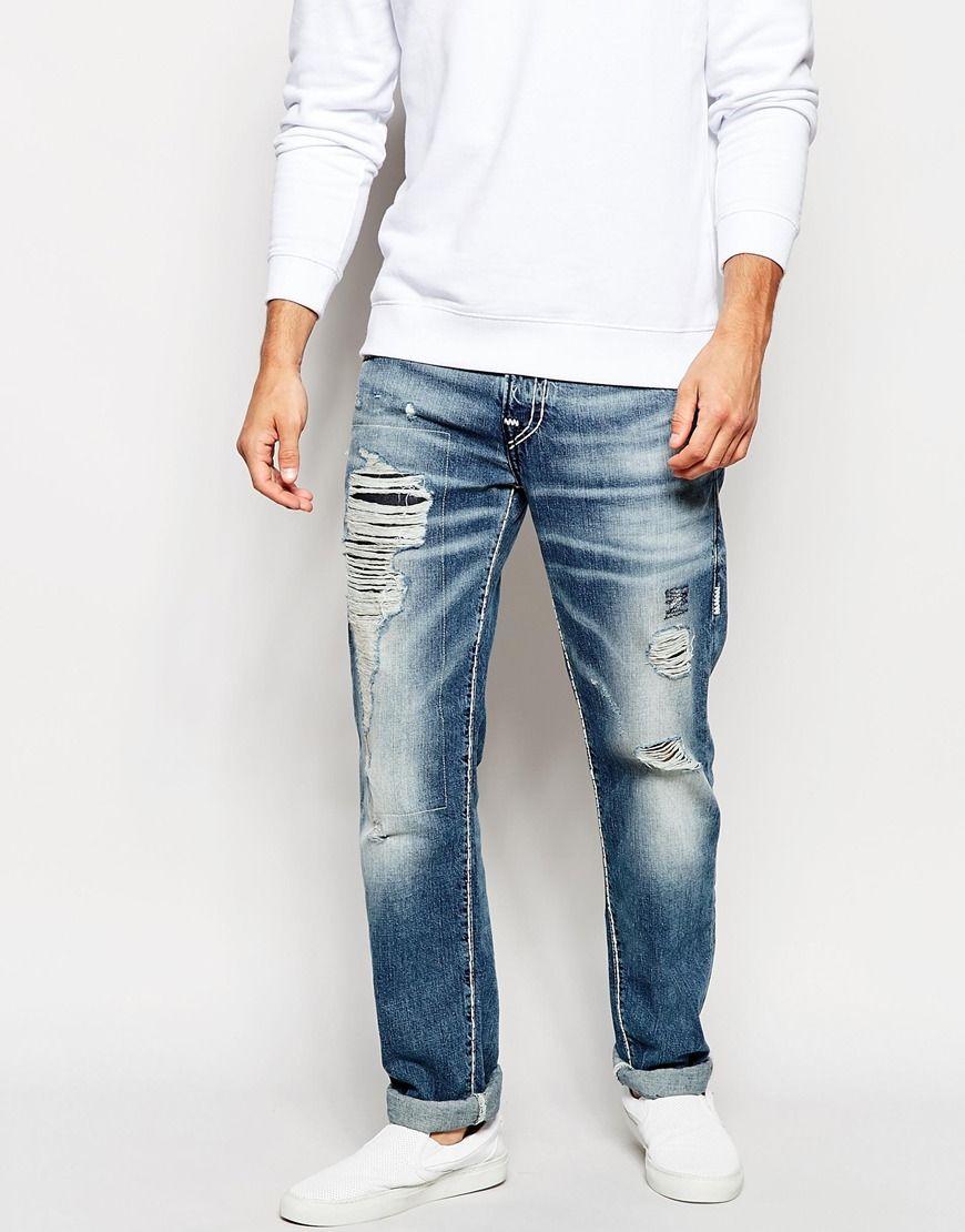 6645ed09ca Image 1 of True Religion Jeans Rocco Slim Fit Super T Rip and Repair ...