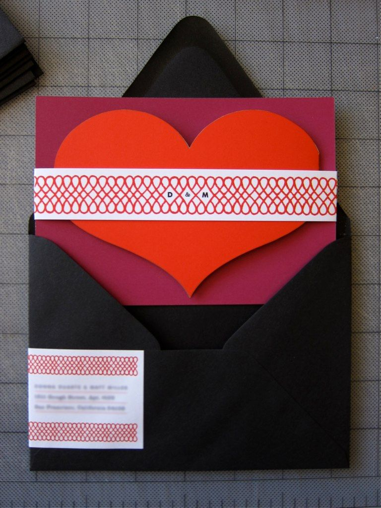 Heart invitations   Black envelopes, Mailing labels and Accordion fold