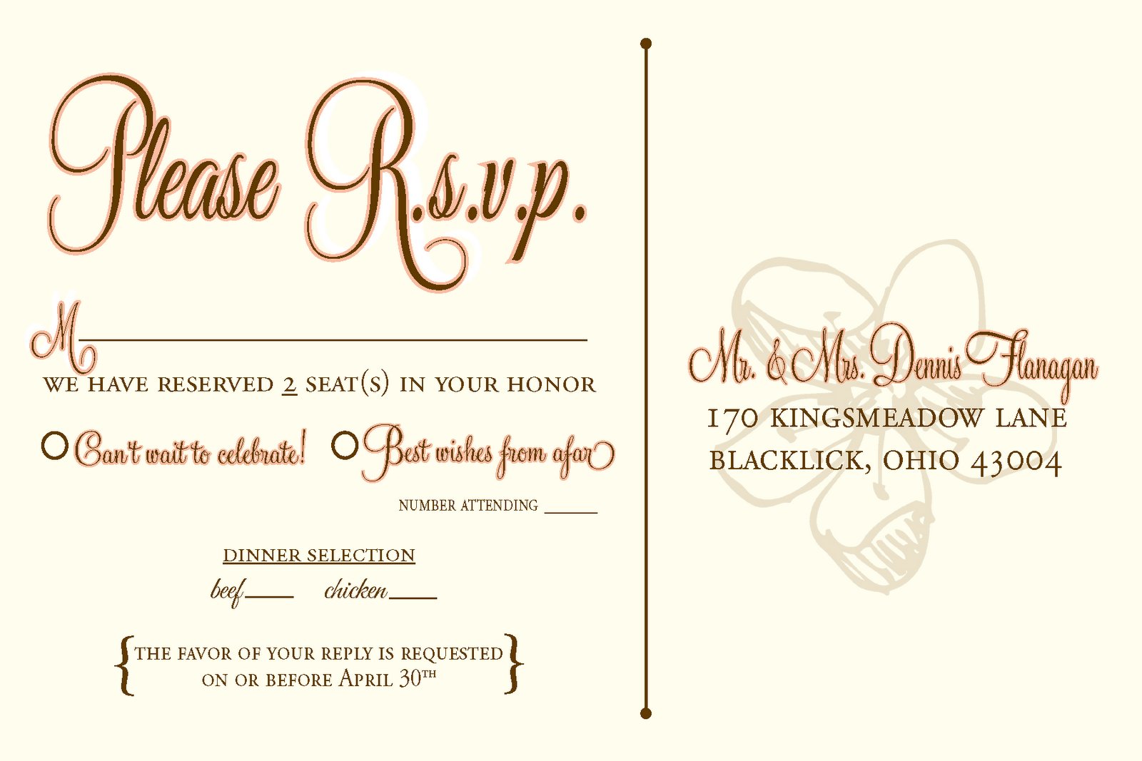 Rsvp To Wedding Invitation Wording: Wedding Rsvp Wording - Google Search