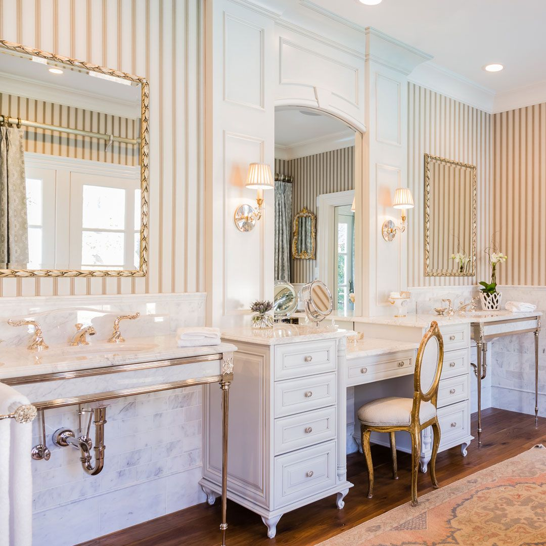 Beautiful bright and airy bathroom design with brass and crystal beautiful bright and airy bathroom design with brass and crystal sconces bathroom lighting ideas aloadofball Choice Image