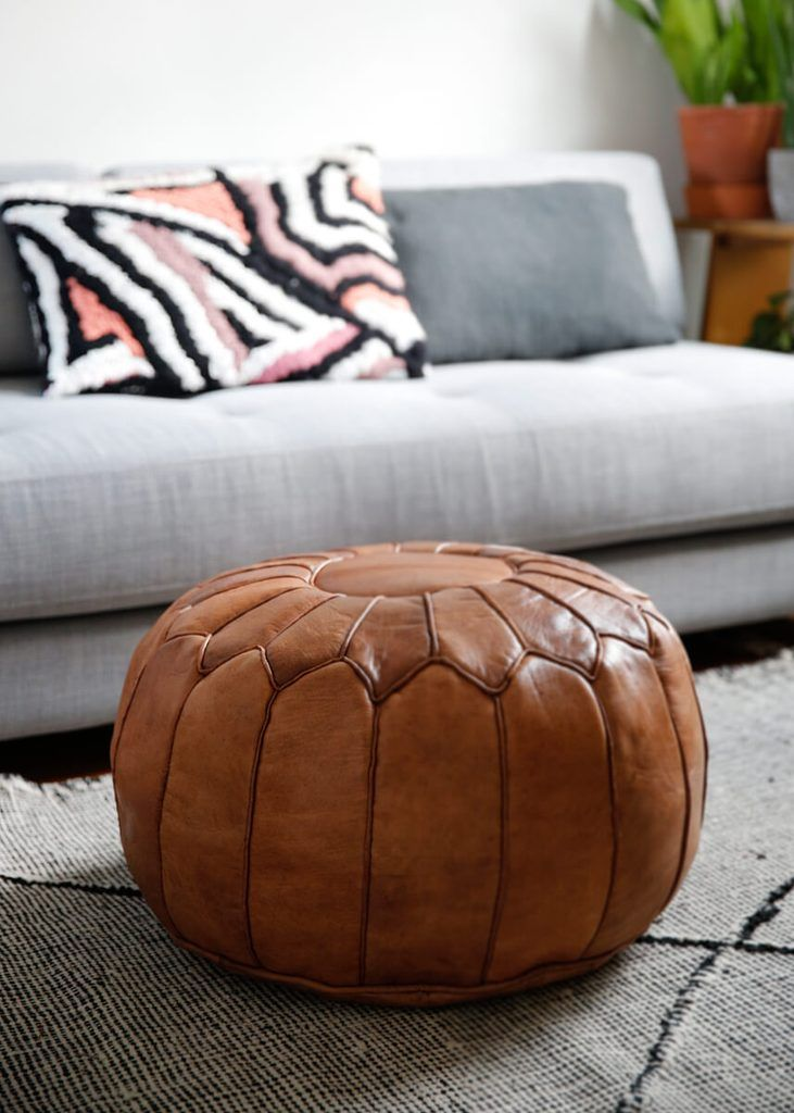 Photo of Toffee colored round natural leather pouf – 22″x14″inches