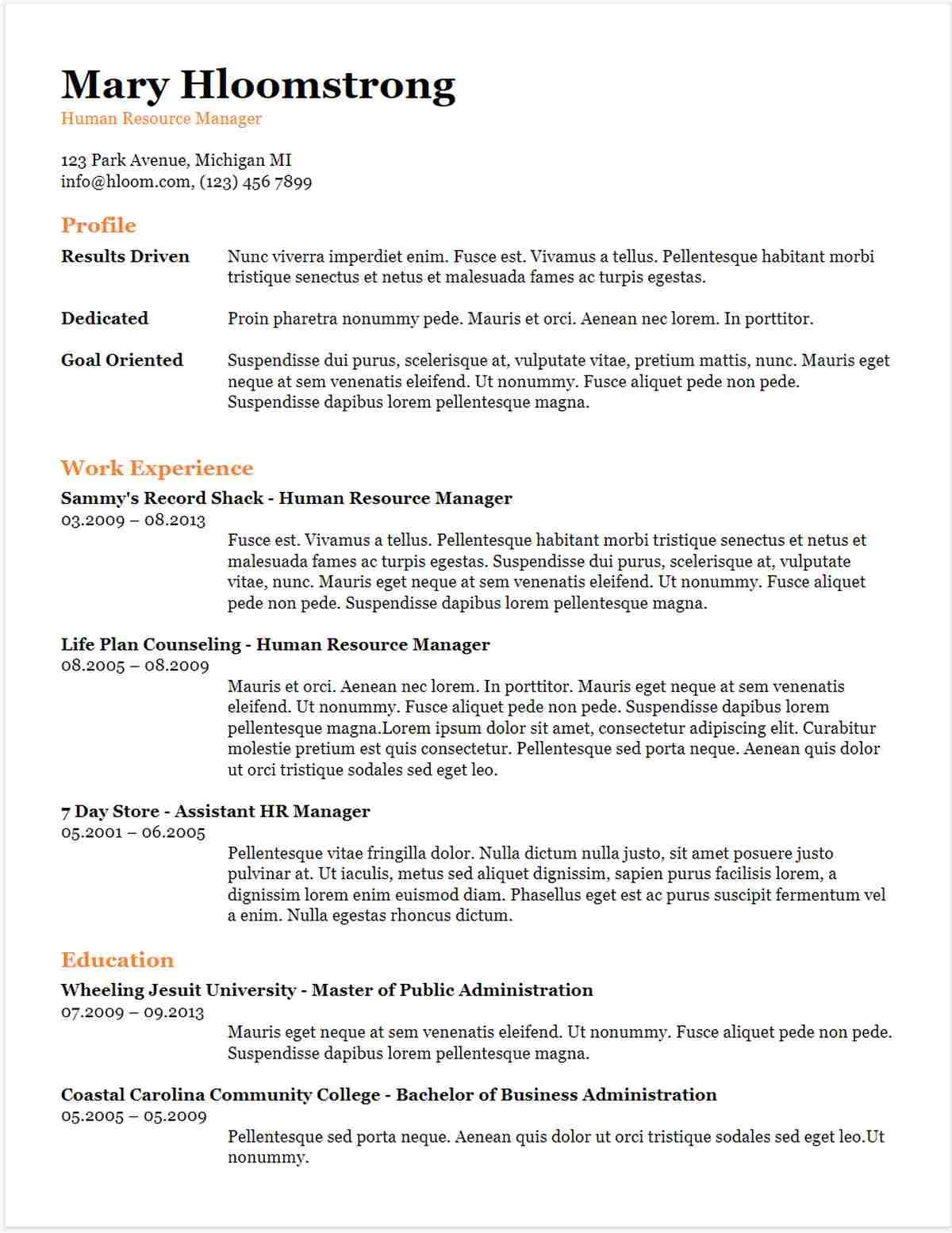 Sample Resume Templates Google Docs in 2020
