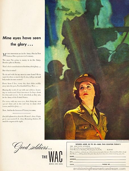 By 1944 the newly hatched WAC's was actually a gen-u-ine part of Uncle Sam's Army, not merely an auxiliary like its earlier incarnation the WAAC's. After much debate,  in July of 1943 FDR  had signed a bill changing the name of the  Women's Auxiliary Army Corp (WAAC)  to Women's Army Corp  (WAC),  making it part of the Army Reserves.