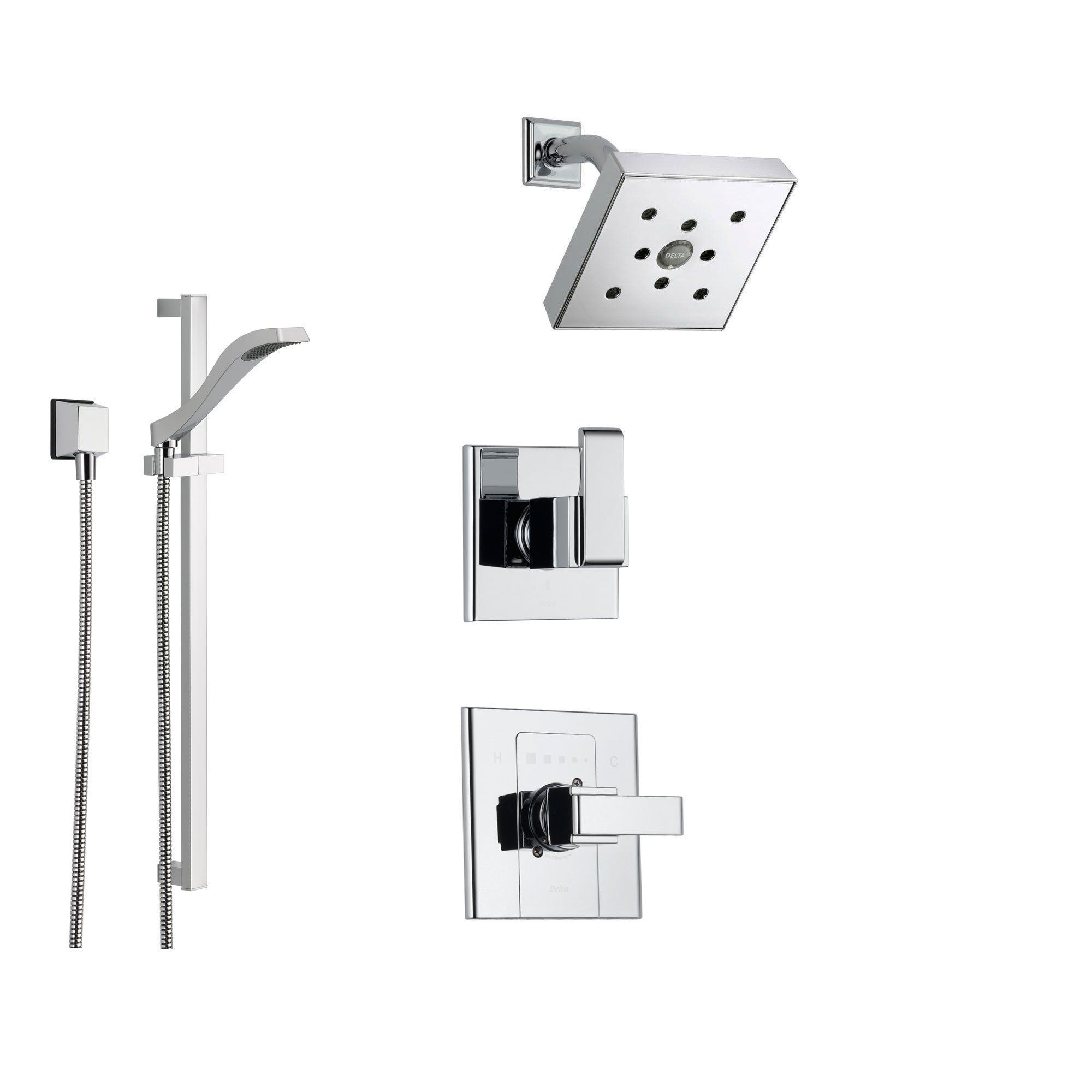 Delta Arzo Chrome Shower System With Normal Shower Handle, 3 Setting  Diverter, Modern Square Showerhead, And Handheld Shower SS148684