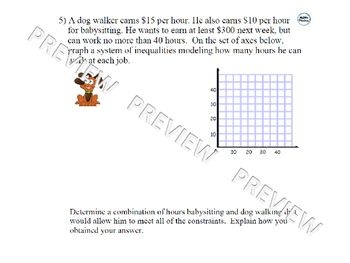 Graphing Systems Of Inequalities Word Problems Inequality Word