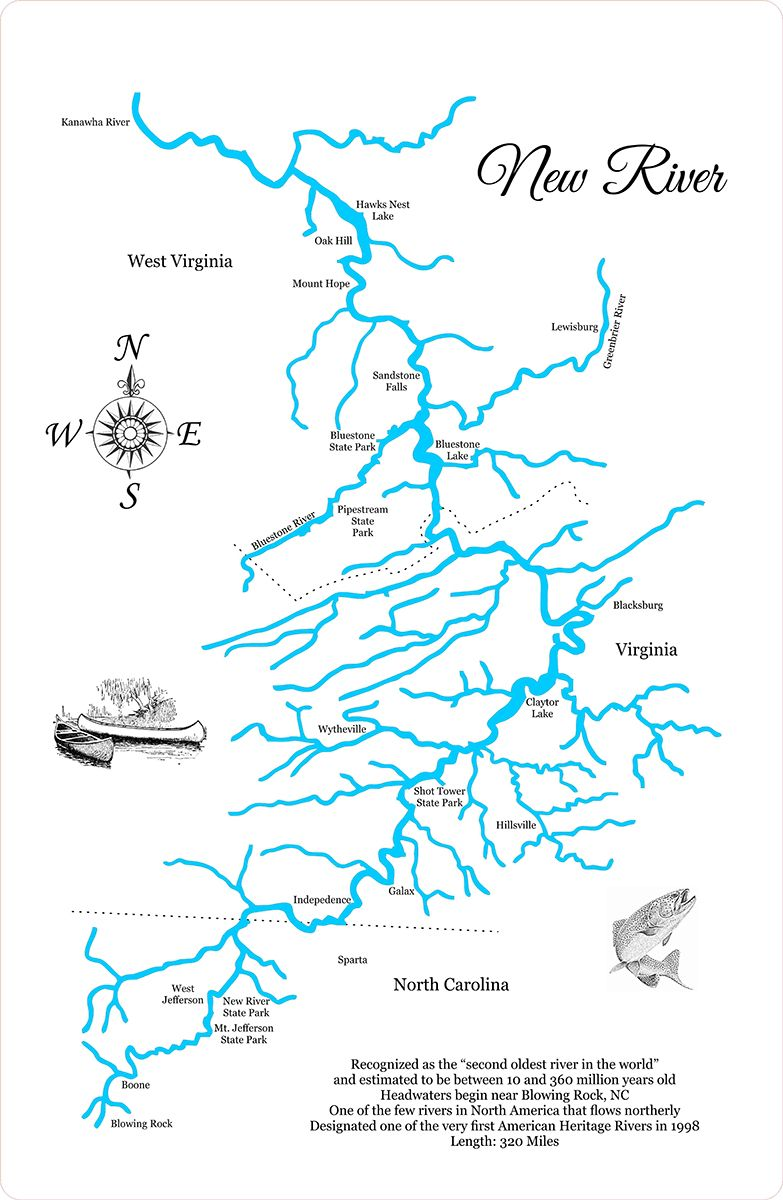 The New River - Wood Laser Cut Map | The New River | New river ...