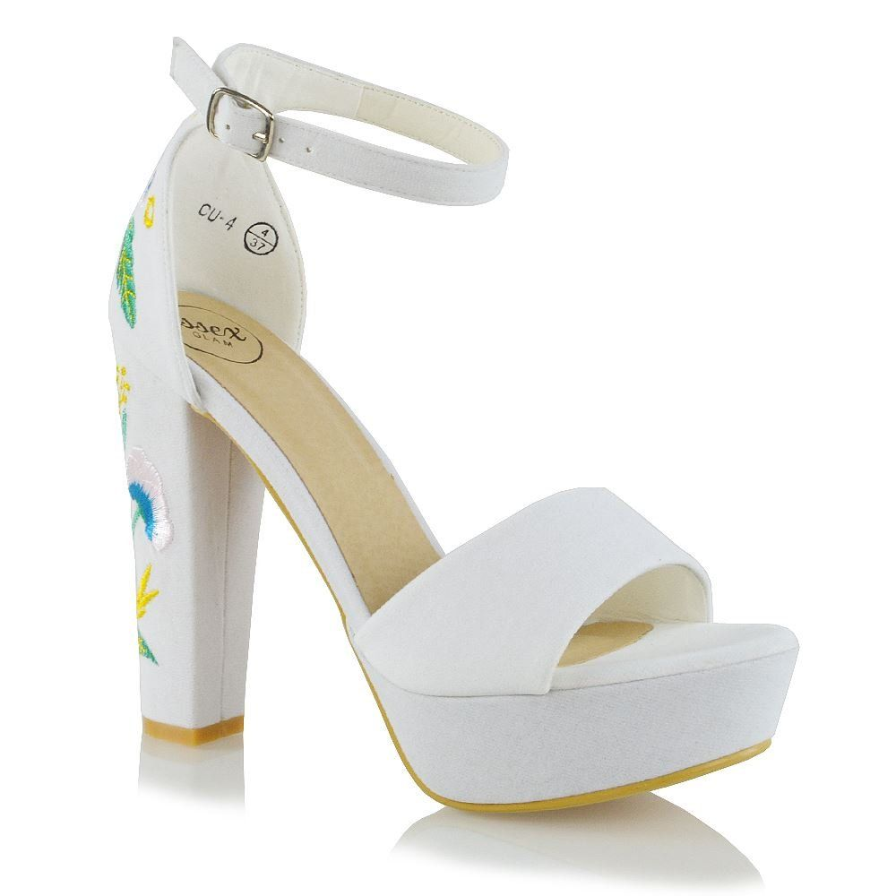 29e8d3b0bf94c ESSEX GLAM Womens Ankle Strap Platform Heels Strappy Embroidered ...