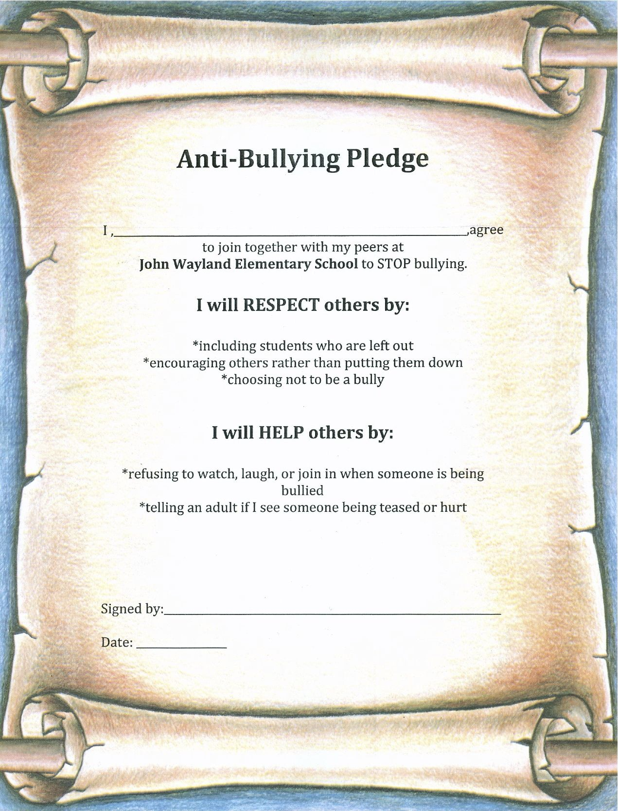 Anti Bullying Pledge Students Will Sign Anti Bullying Lessons