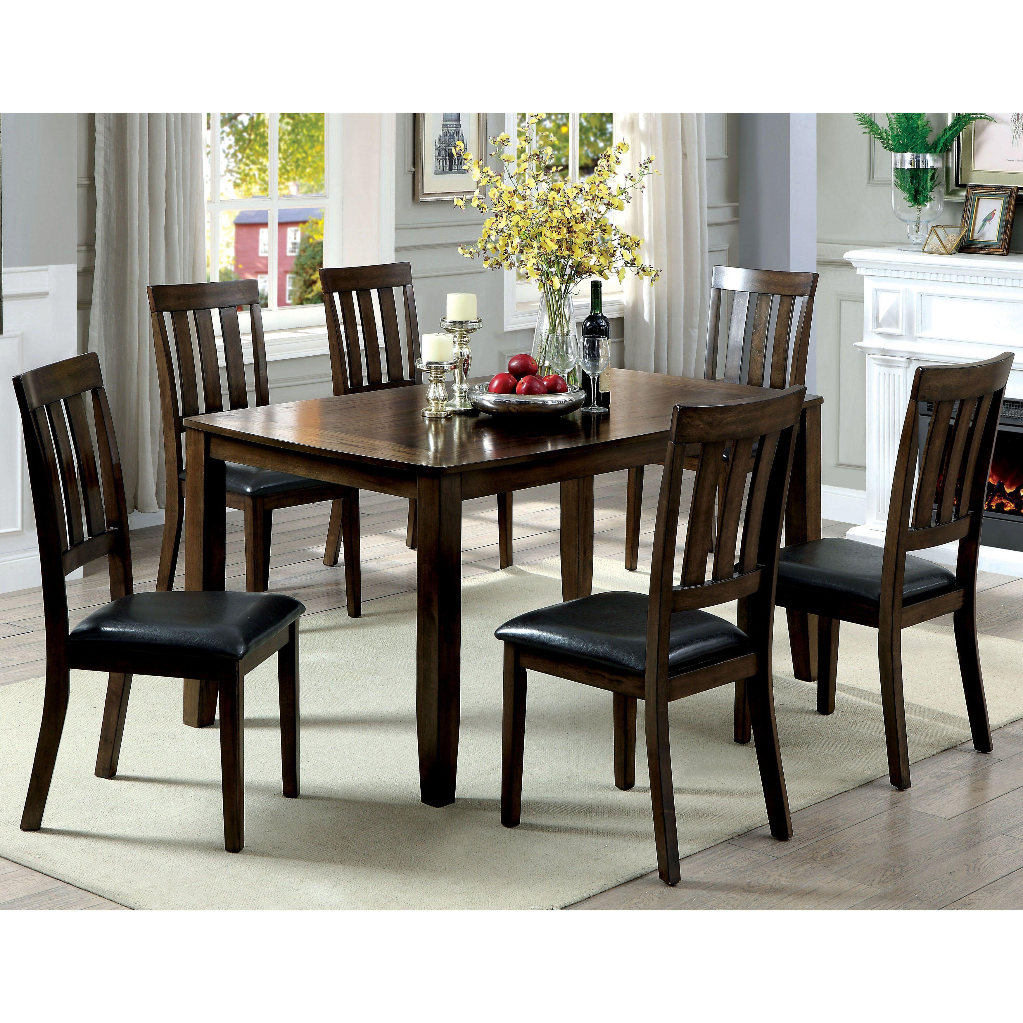 Furniture Of America Merlein Rustic 7 Piece Dark Oak Dining Set (Dark Oak),  Brown, Size 7 Piece Sets