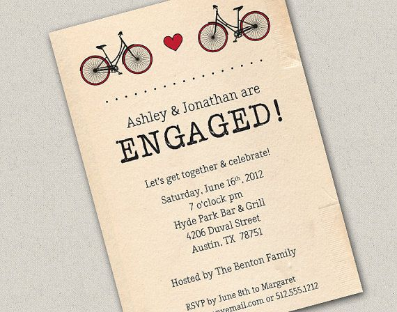 Two Bicycles Engagement Invite wedding photos Pinterest - gala invitation wording