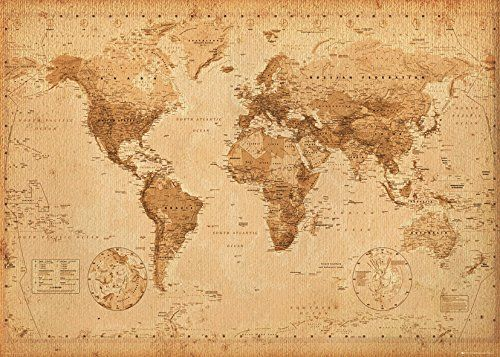 World map antique style giant poster 100x140cm gb posters http world map antique style giant poster 100x140cm gb posters httpamazon gumiabroncs Image collections