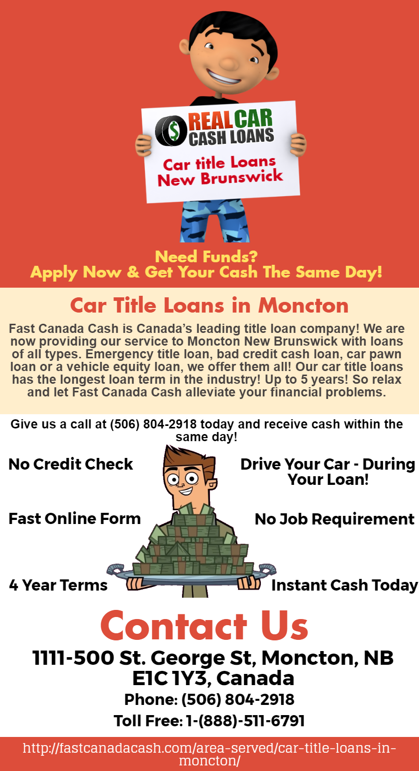 Fastcanadacash Offering You Car Title Loans In New Brunswick At