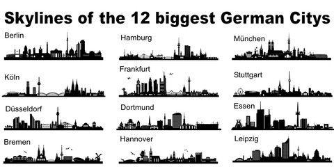 Vektor: Skylines der größten deutschen Städte