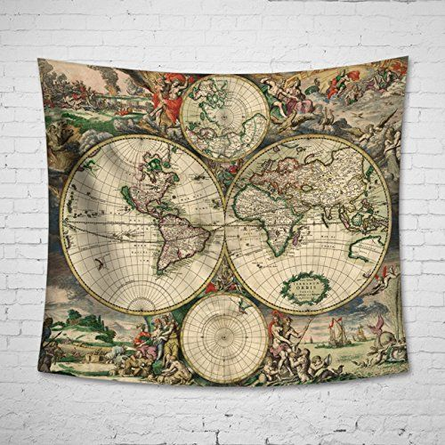 Uphome antique map of the world wall tapestry hanging l harry amazon uphome antique map of the world wall tapestry hanging light weight polyester fabric wall decor 60h x 80w vintage map home kitchen gumiabroncs Choice Image