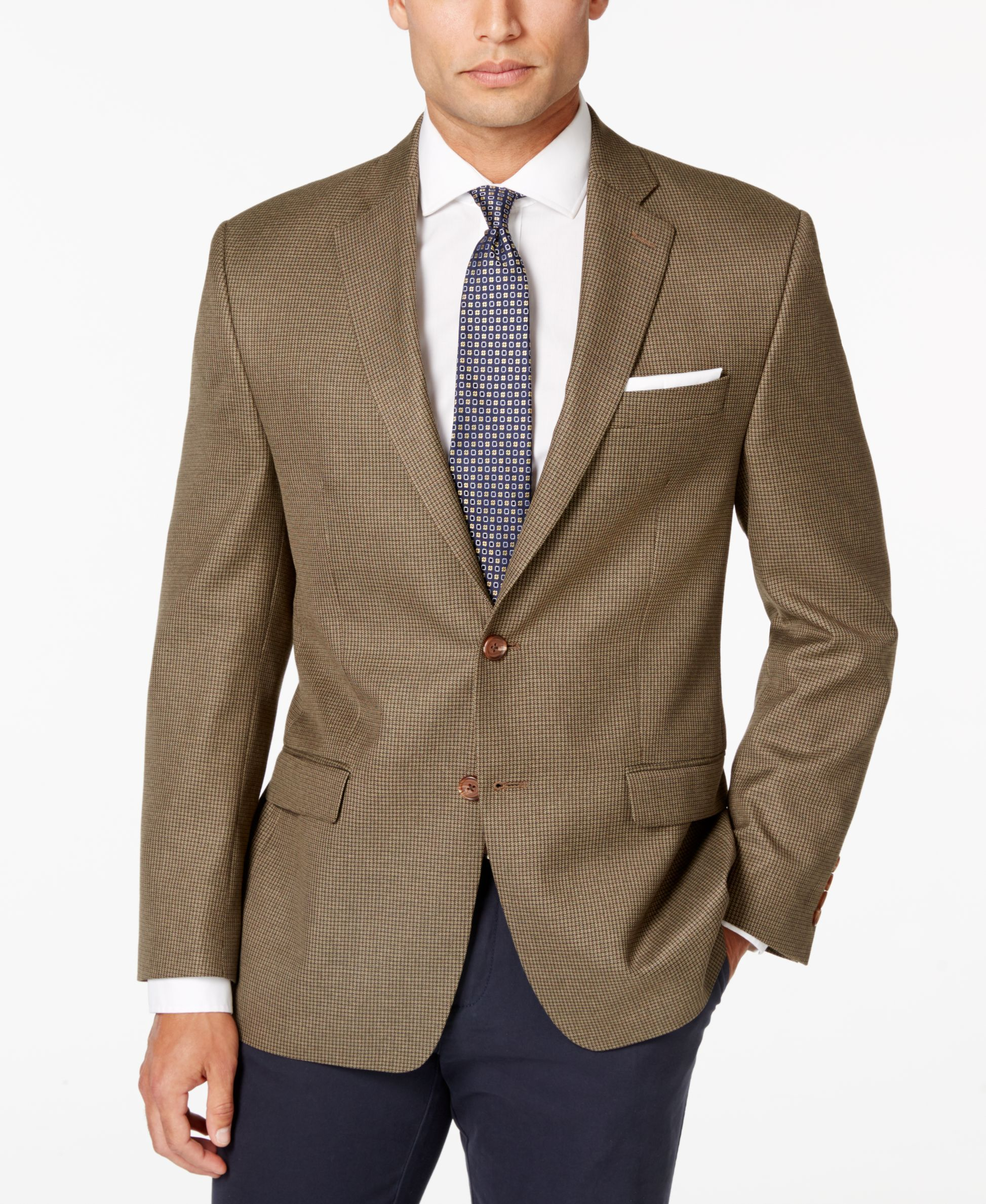 Look like you mean business in this brown classic-fit neat sport ...
