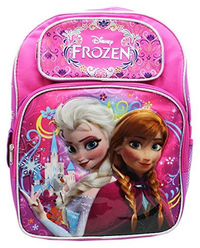 Full Size Pink and Purple Disney Frozen Anna and Elsa Kids Backpack >>> Click image to review more details.