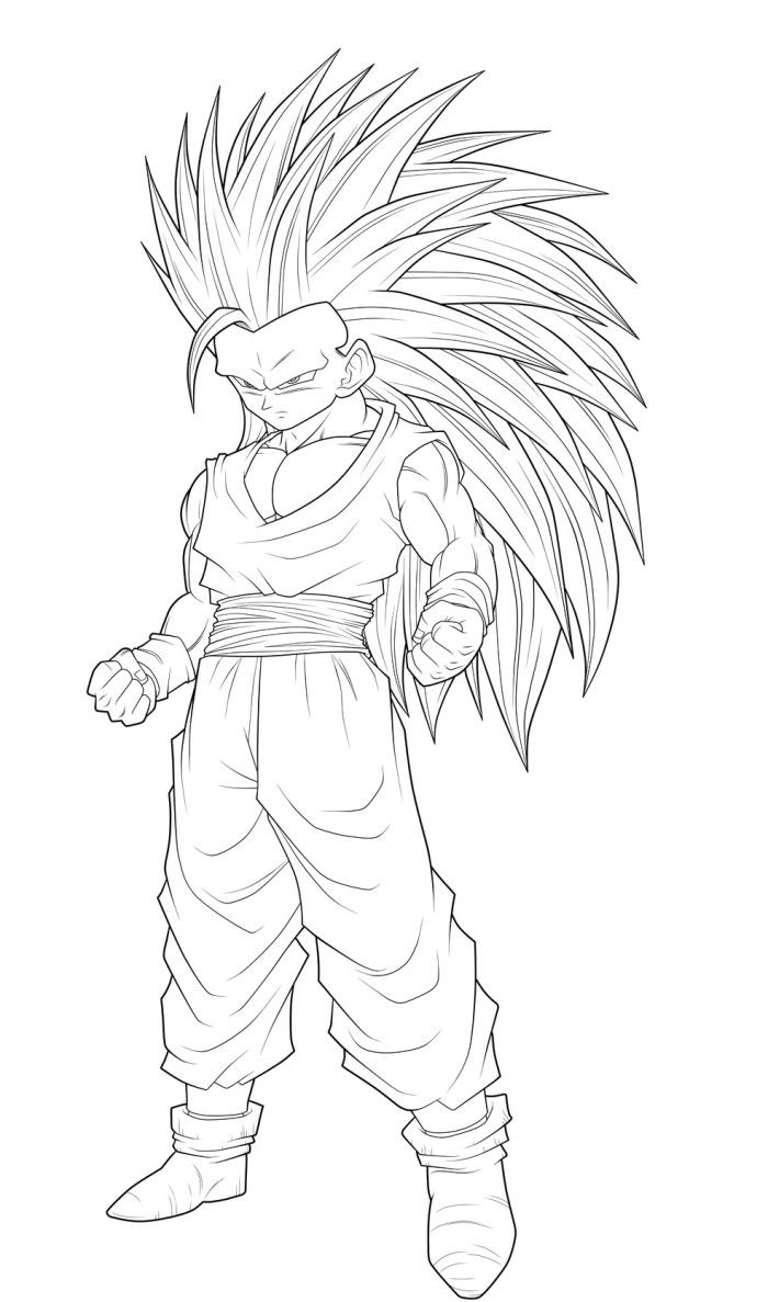 Dragon Ball Goku Super Saiyan 3 Coloring Pages Coloring Page