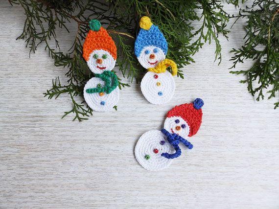 Crochet el mueco de nieve Set de 3 Navidad adornos rbol decoracin