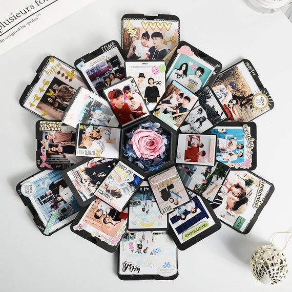 EBG-Explosion box, simple black gold photo album box, birthday gift for boyfriend, girlfriend, wedding gift