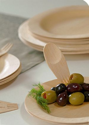 Eco-friendly disposable plates made from bamboo Disposable bamboo plates and silver ware or sporks. & Attractive Options for Disposable Party Plates | Pinterest ...