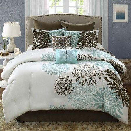 Anya 8 Piece Floral Print Bedding Set - Blue/Brown bedding