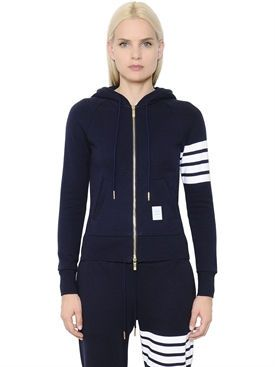 9f8ae739a9d6 thom browne - women - sweatshirts - intarsia cotton jersey zip-up sweatshirt