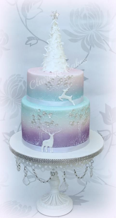Airbrush Cake Decorating Designs : Wintery Whimisical Christmas Cake - Cake by Clairella ...