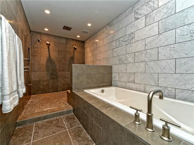 Stunning Walk in shower. Penthouse Suite. 360 Nueces St #4302, Austin, TX.  Listed by Lauren Schrim - Berkshire Hathaway Texas Realty. Send inquires to success@callkent.com.