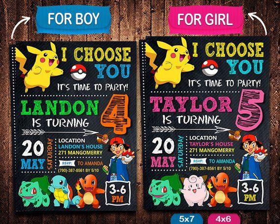 Pokemon Go Invitation Birthday Party Pikachu Pika