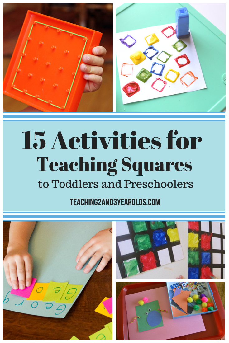 15 Activities for Teaching Squares to Toddlers is part of Shape activities preschool, Preschool activities toddler, Shapes preschool, Kindergarten art activities, Teaching shapes, Preschool activities - These 15 square activities are great for toddlers who are learning their shapes  Excellent at home and the preschool classroom! Free squares printable packet!