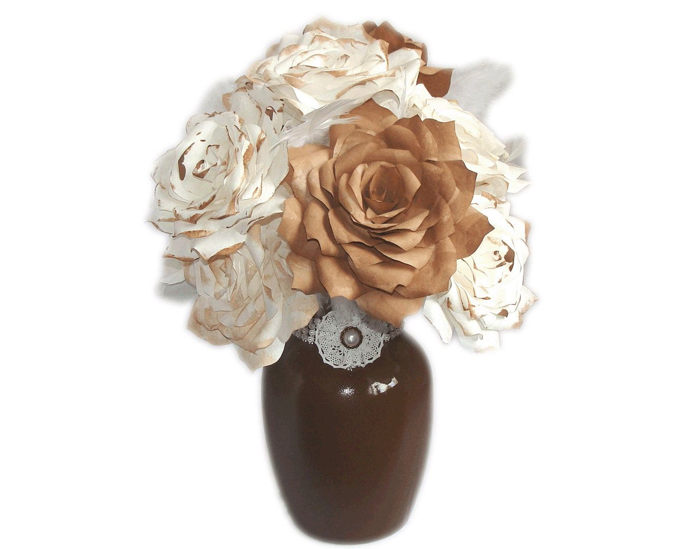 Country Chic Floral Arrangement Centerpiece Using Handmade Brown And