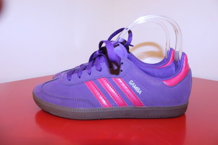 Adidas Shoes 4 Purple Pink Stripe SAMBA Athletic Soccer Tennis Shoes Sneakers #Adidas #TennisShoes