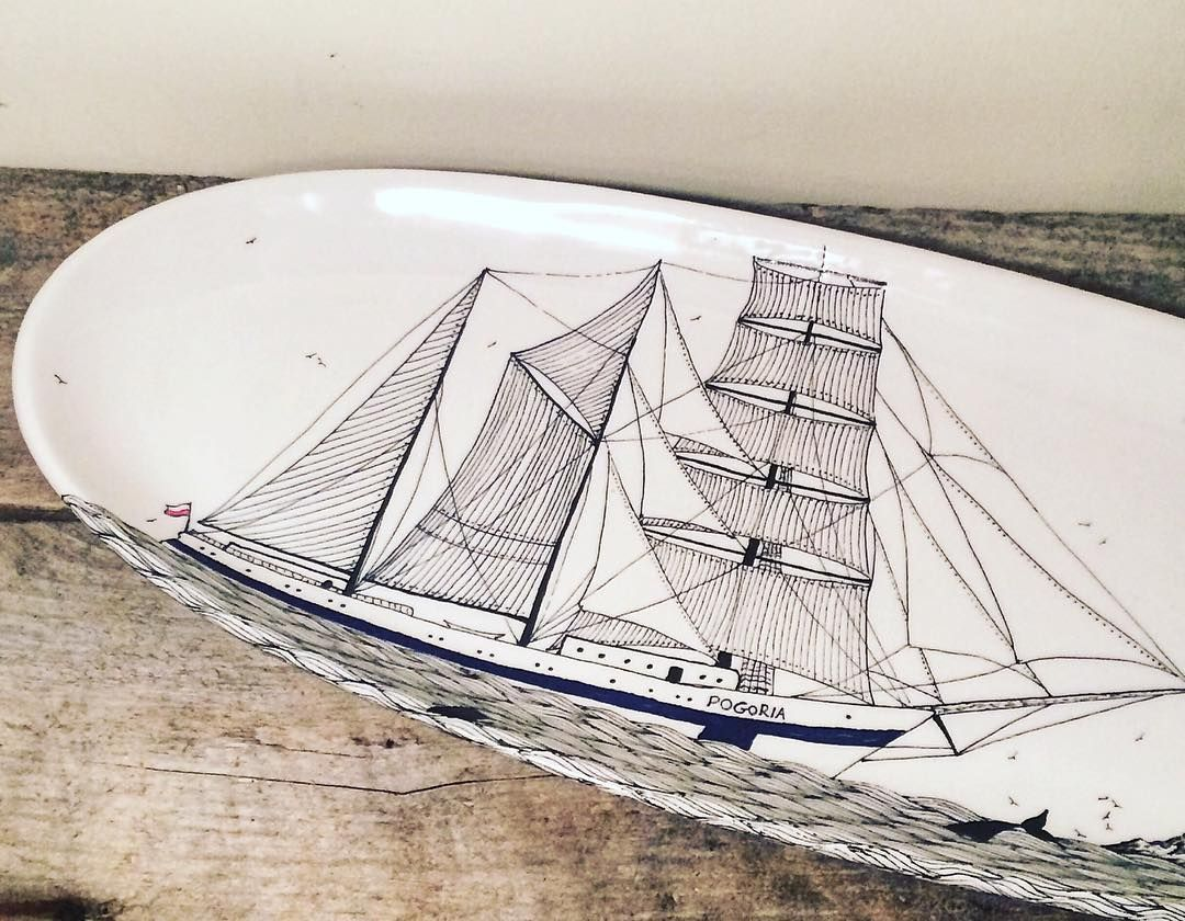 Large oval serving tray with the Pogoria one of my favorites. @tallshipsromania  #tallships #sailboat #sailing #scrimshaw #pottery #kitchen #decor #design #ceramics #art #shipart #boatlife #yacht #drawing #etsy #pogoria #nautical #nauticalart #ocean by scrimshaw_pottery