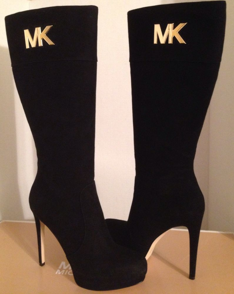 4b369879f953 Michael Kors Hayley Black Suede MK Logo Knee High Platform Boots 8.5 NEW!  if this listing has ended and is not re listed look for a similar boot, ...