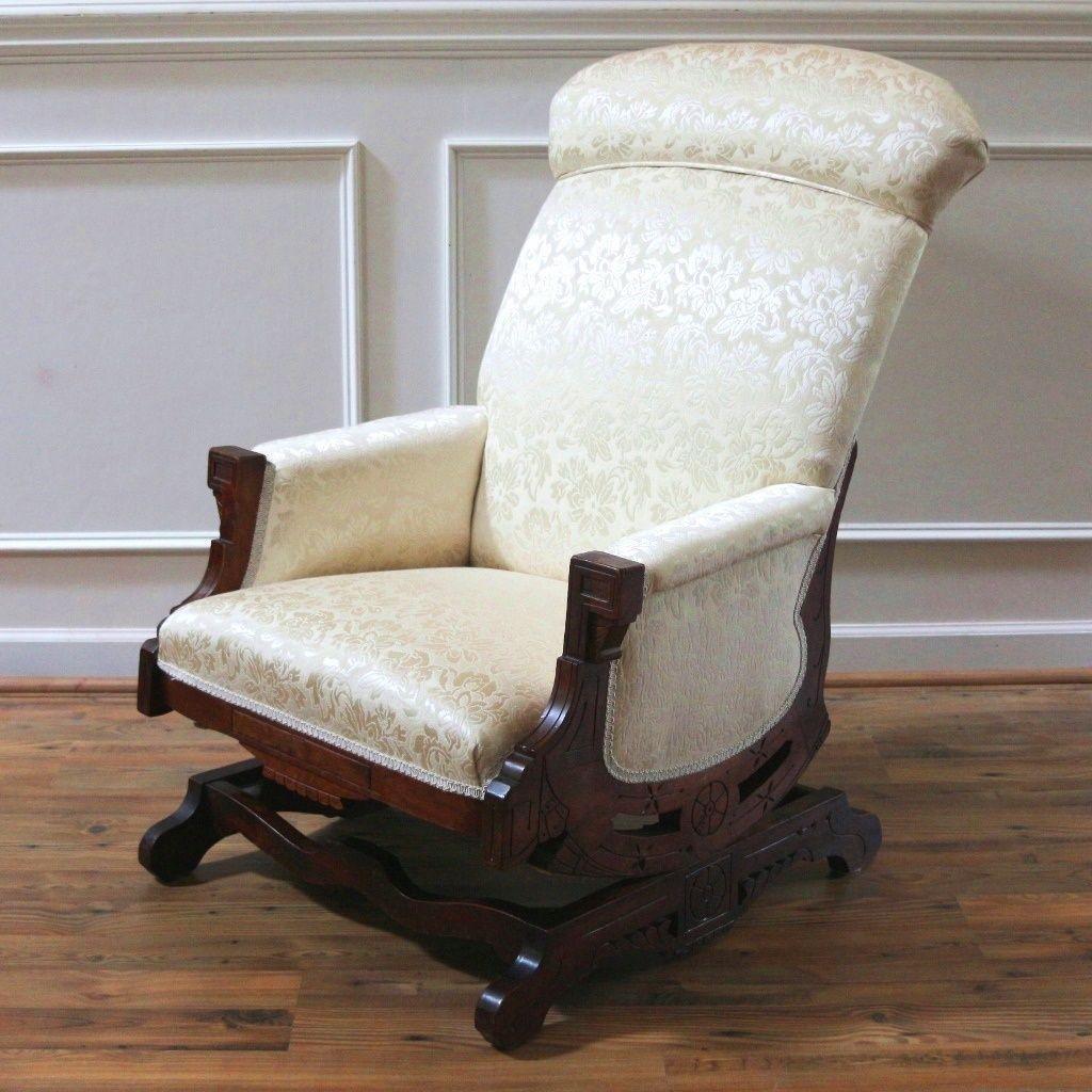 Antique upholstered rocking chair - Antique Eastlake Rocking Chair Platform Rocker