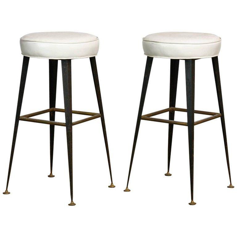 Pair Of Midcentury Industrial Iron And Vinyl Barstools Vinyl Bar Stool Bar Furniture Bar Stools