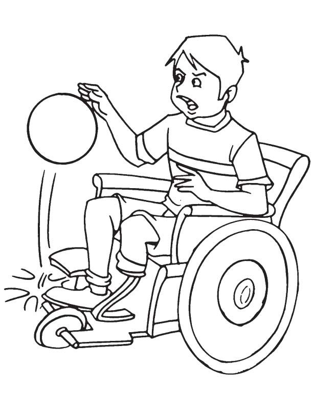 Disabled Boy With Basketball Coloring Page Coloring Pages Drawing For Kids Coloring Pages For Kids