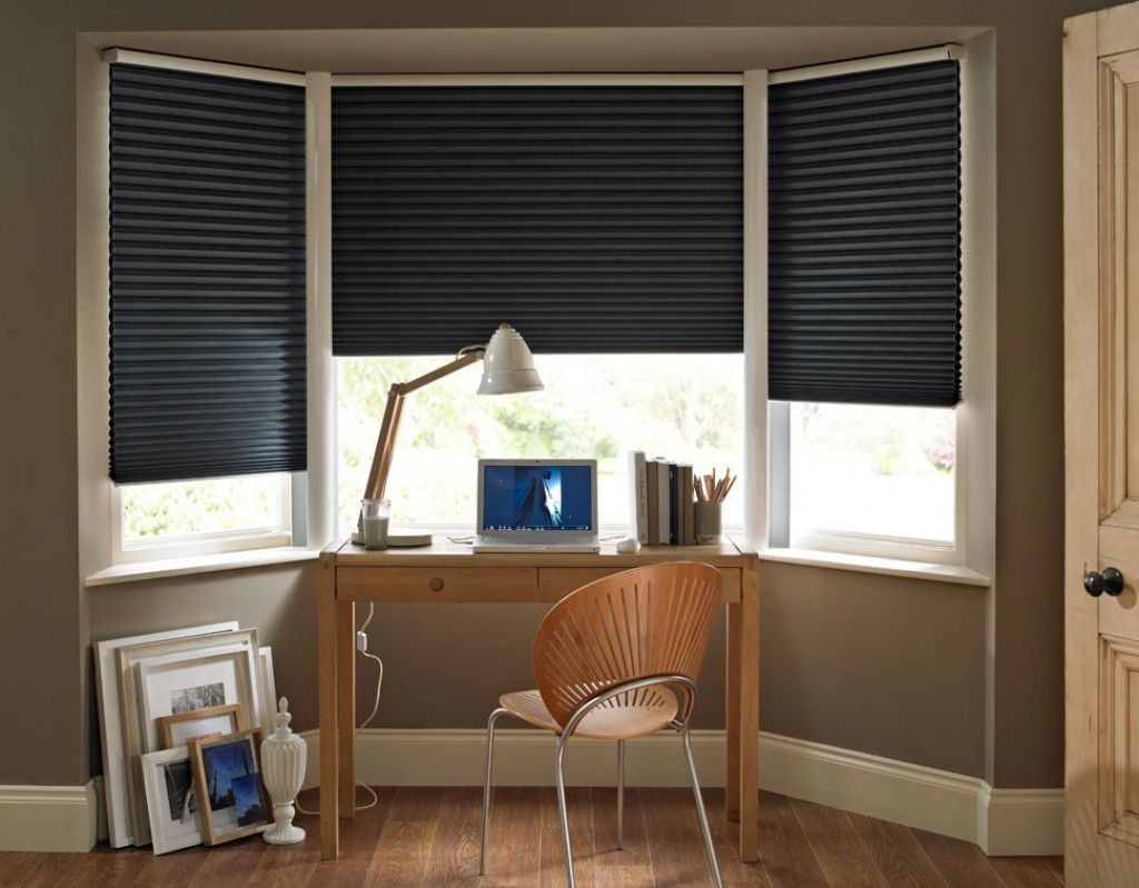 Home Office Bay Windows Decorated With Black Modern Blinds