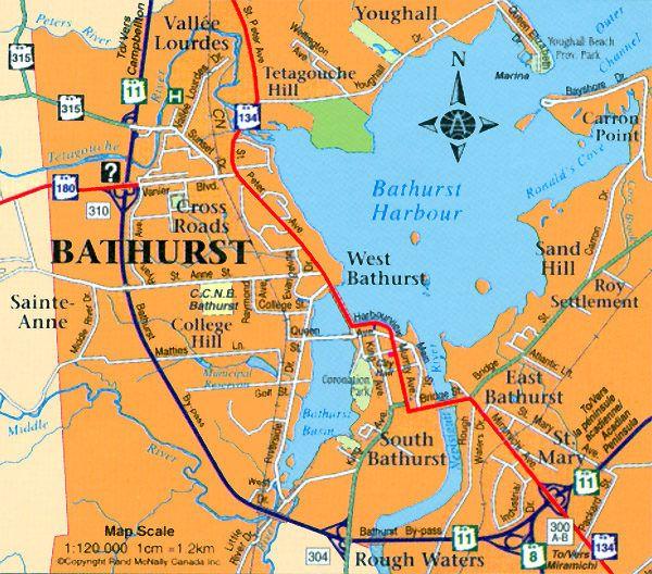 bathurst nb map Acadian Pinterest