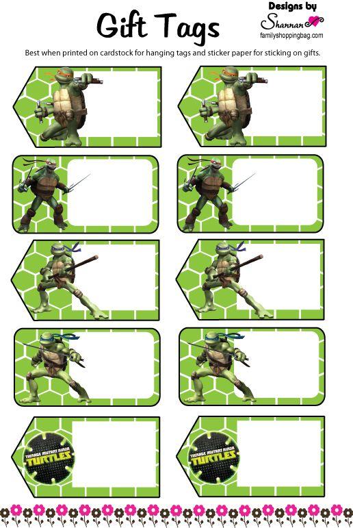 Tmnt Free Printable Favor Tags Ninja Turtles Birthday Party Teenage Mutant Ninja Turtles Party Ninja Turtle Party
