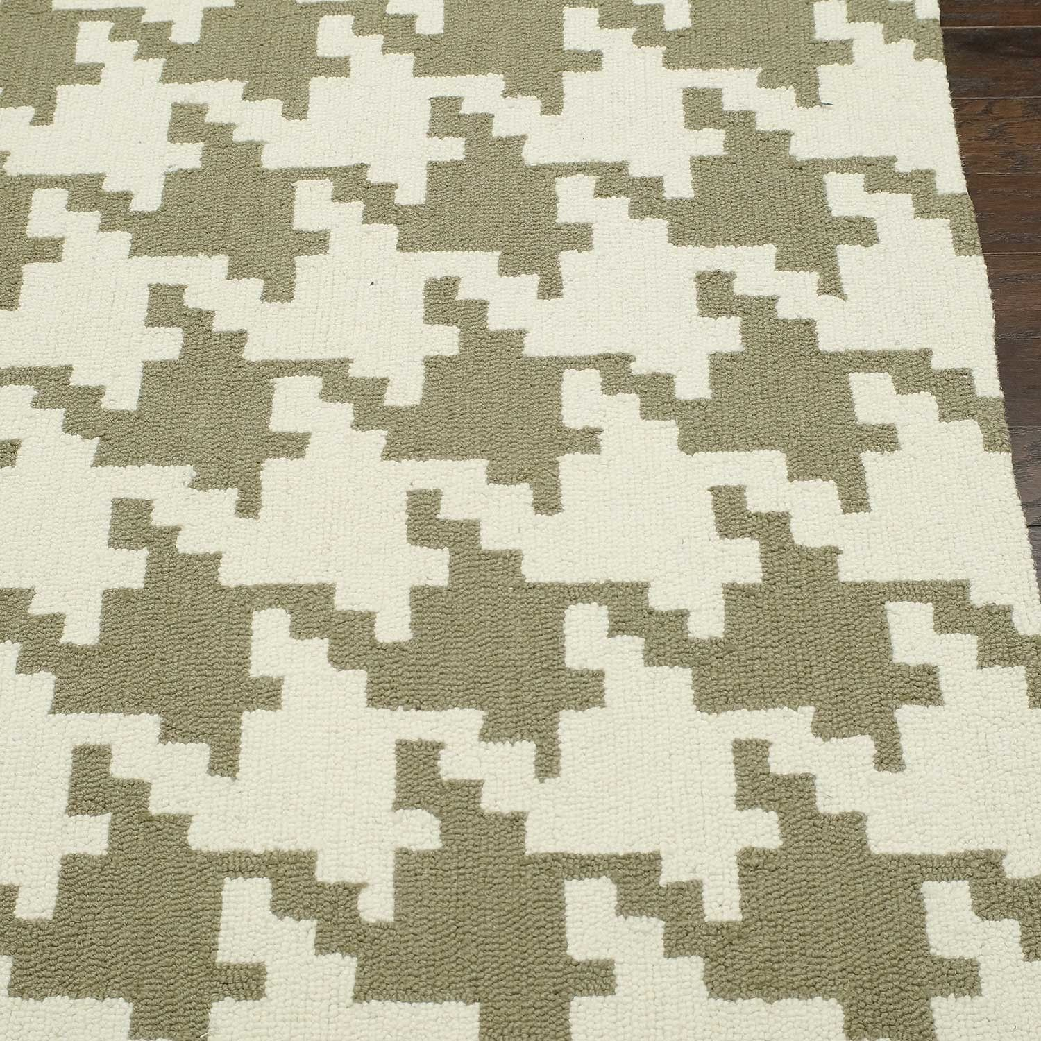 Hand Hooked Rug // Houndstooth // Brown (5' x 8')
