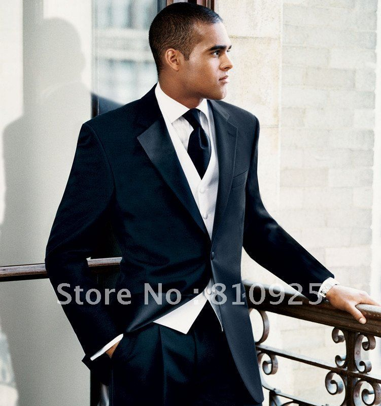 wedding suit!black suit  white vest,custom made suit for dinner ...