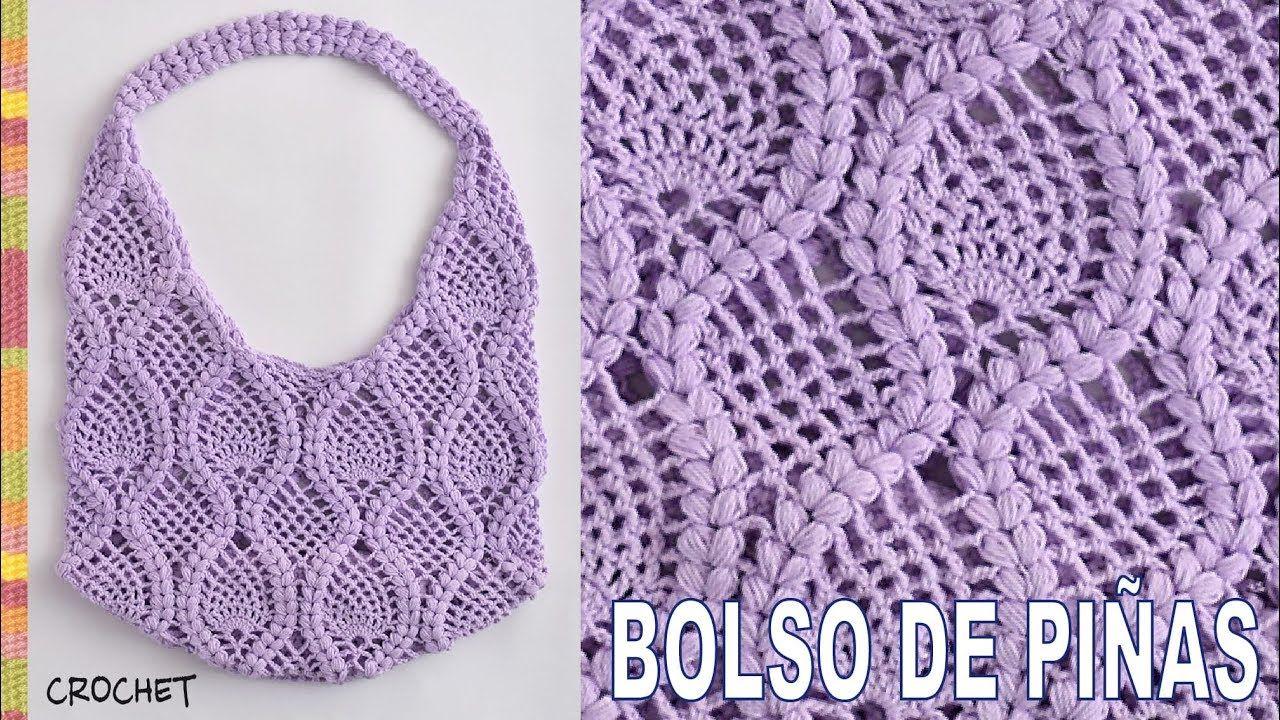 Bolso redondo con asas tejido a crochet con diseño de piñas rodeadas ...