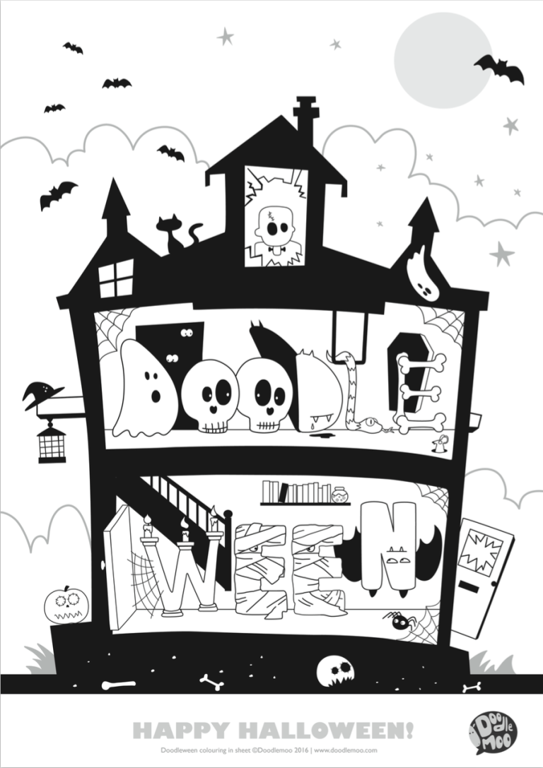 Colouring in halloween - Colouring In Fun With Doodlemoo Free Printable Doodleween Find Non Scary Halloween Bits To