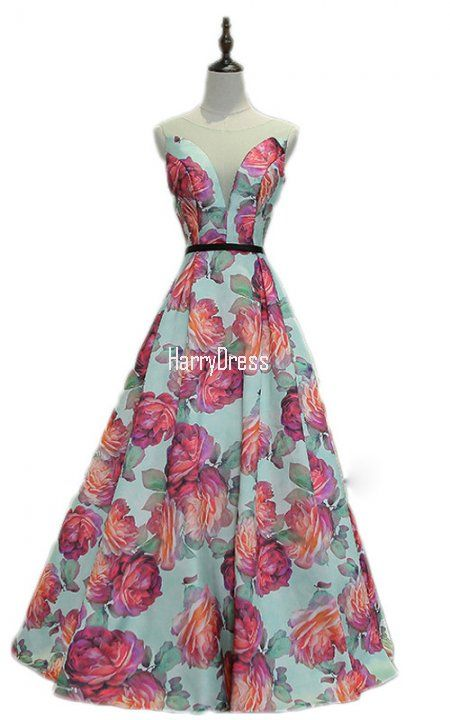 Mulit Color Floral Print Sleeveless Floor Length Satin A Line Prom Dress