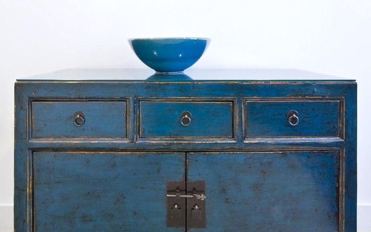 Commode De Style Japonais Teinte Bleu Ciel Finition Polyurethane Transparente Mate Teinte De Bleu Style Japonais Bleu Ciel